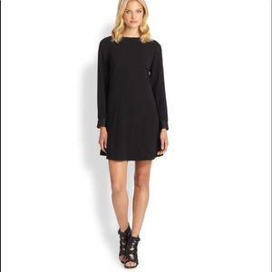 Eileen Fisher Black Silk Georgette Crepe Dress